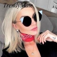 2017 Fashion Cat Eye Sunglasses Women Brand Designer Sun Glasses for Ladies Vintage Lightweight Cateye Mirror Female Oculos 705M