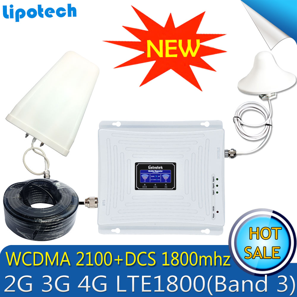 Lintratek Set Dual-band 2g 3g 4g LTE Repeater 1800 2100MHz GSM DCS WCDMA mobile signal cellular booster power amplifier wifi