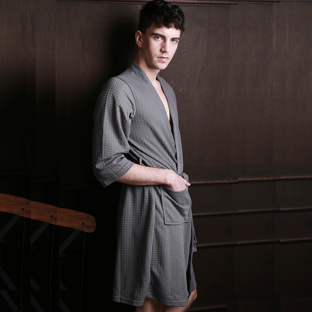 Personalised mens bathrobe hot male underwear mens summer dressing gown terry cloth spa robe women's robes and bathrobes Men's Clothing & Accessories