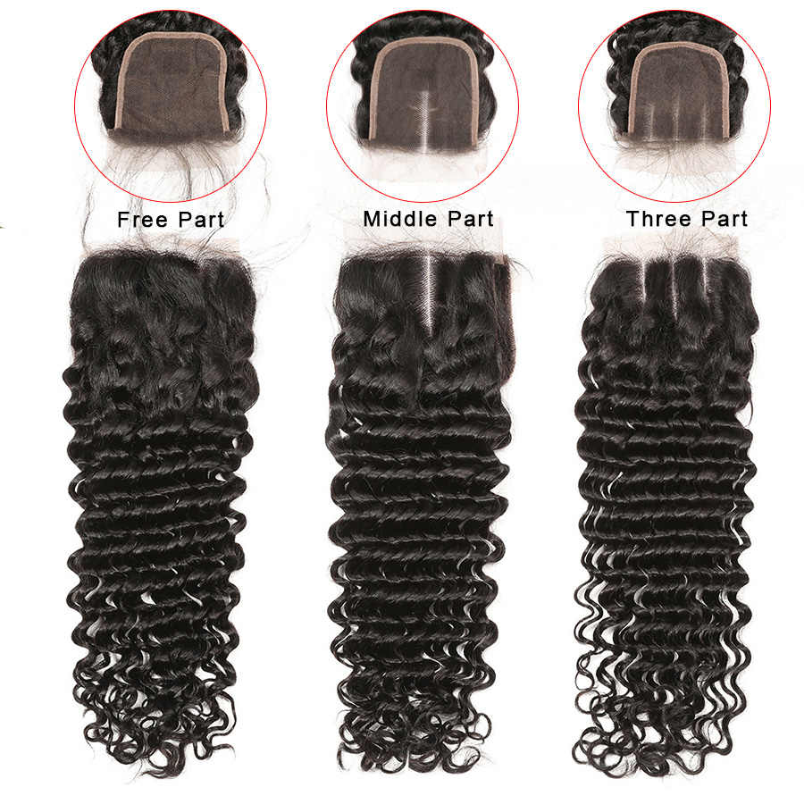 Deep Wave Closure 100% Human Hair Closure Brazilian Hair 8-20 Inch Gossip Remy Hair 4x4 Lace Closure Pre Plucked Hair Extensions
