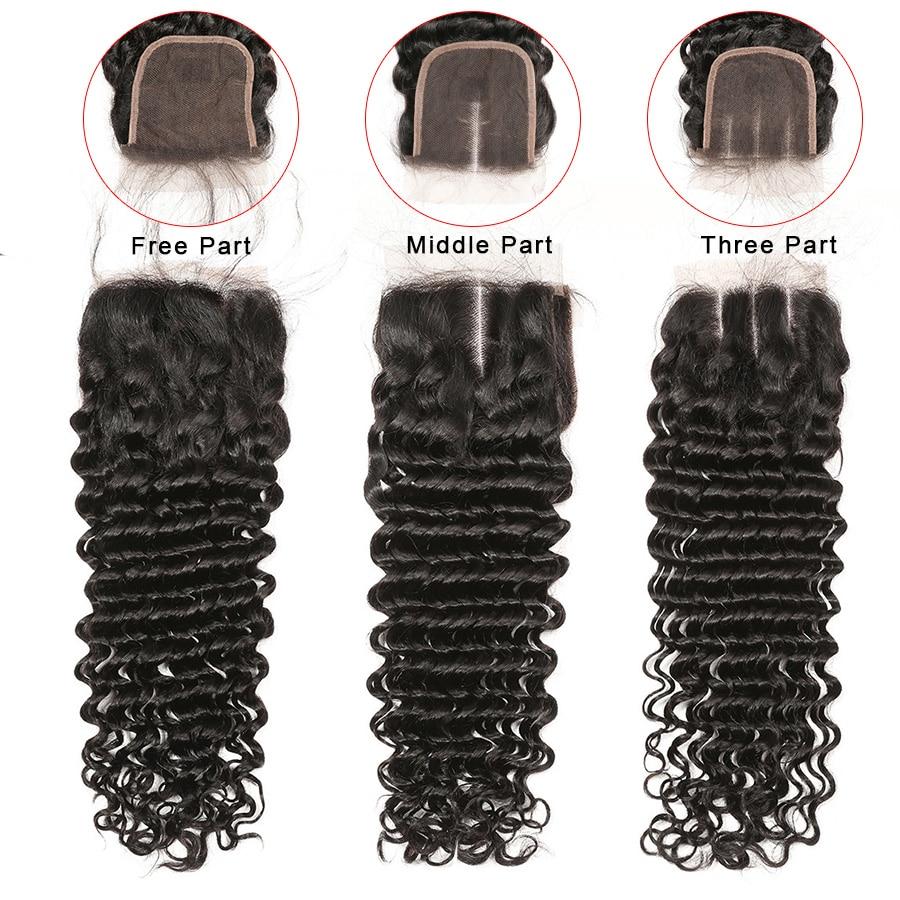 Deep Wave Closure 100% Human Hair Closure Brazilian Hair 8-20 Inch Gossip Remy Hair 4x4 Lace Closure Pre Plucked Hair Extensions