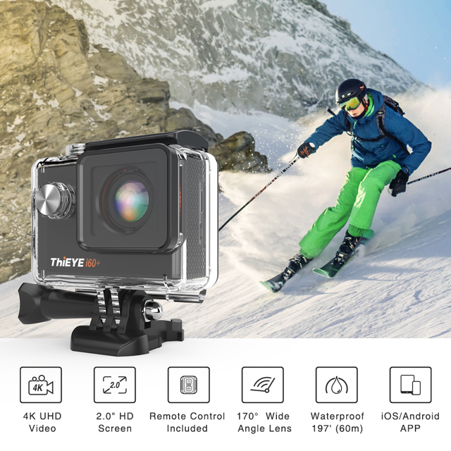 Black Action Camera with Night Shot Function