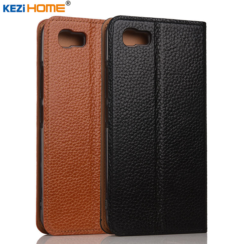 ASUS Zenfone 3s Max case KEZiHOME Litchi Genuine Leather Flip Stand Leather Cover For ASUS Pegasus