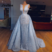 Blue Two Pieces Arabic Evening Dress With Detachable Train African Party Gowns 2018 Custom Made Abendkleider Long Prom Dresses