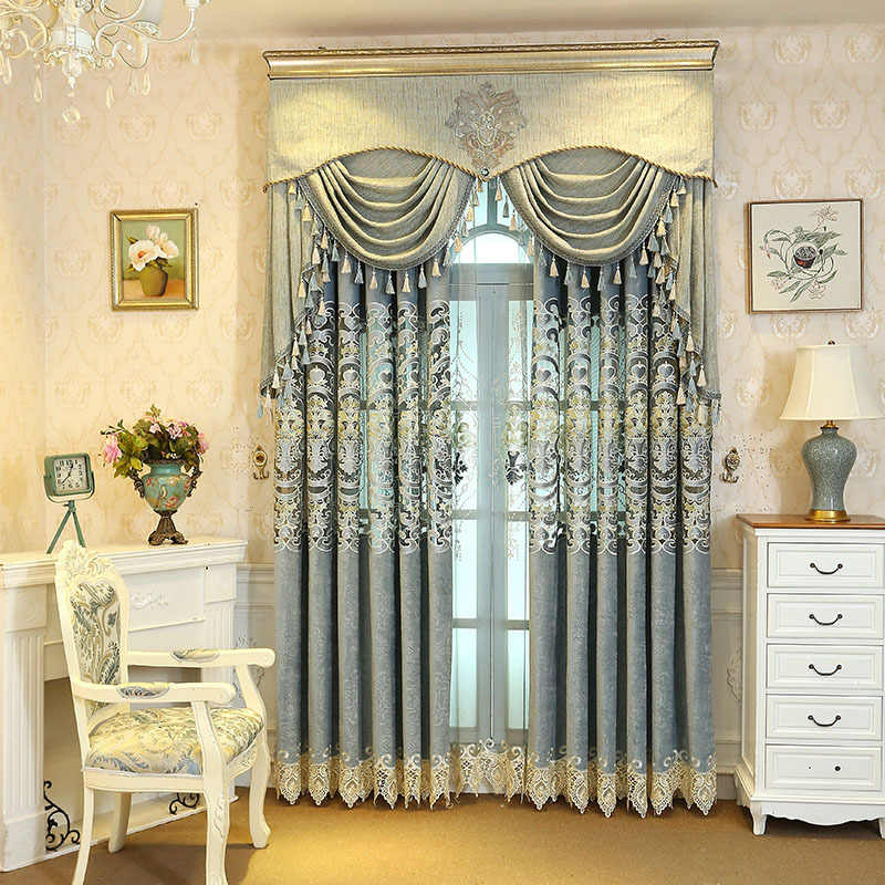European Style Modern Minimalist Embroidery Curtain Living Room Bedroom Factory Floral Blackout Curtains Luxury Sheer M027-40