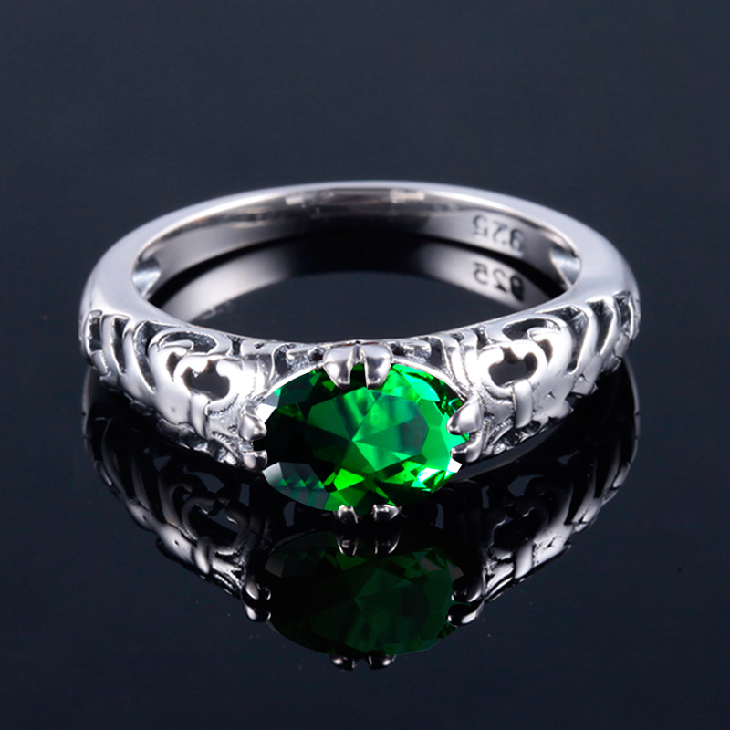 Szjinao Handmade 100% Silver 925 Jewelry Green Emerald Rings Oval Design  Satisfyer Puzzle Communion Gifts bijoux femme Sale-in Rings from Jewelry ... c7dc0cfc1ff9