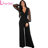 LIVA GIRL Black Fashion Mesh Long Sleeve Jumpsuit Women Party Sexy V neck Plus Size Rompers Loose Club Pants Female Playsuit 3XL