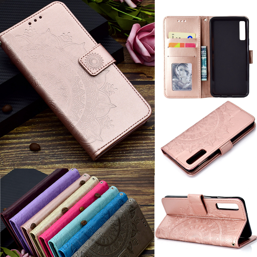 A7 2018 Case on for Samsung Galaxy A7 2018 Cover for Funda Samsung A7 2018 A750F 3D Totem Flower Wallet Flip Leather Phone Cases