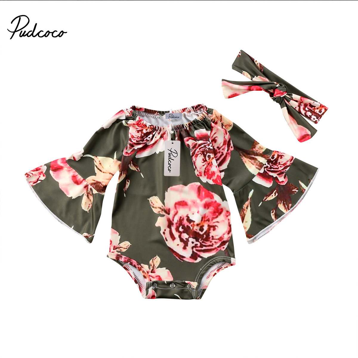 Flower Girls Clothing Newborn Toddler Baby Girl Flower Flare Long Sleeve Romper Jumpsuit Outfits Clothes 0-24M