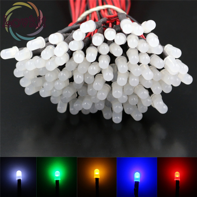 20pcs 5mm Round Top 12v Pre-Wired Diffused 6 Colors Optional LED Emitting Diode For Automotive Light Toy DC 20cm DIY Hot SALE