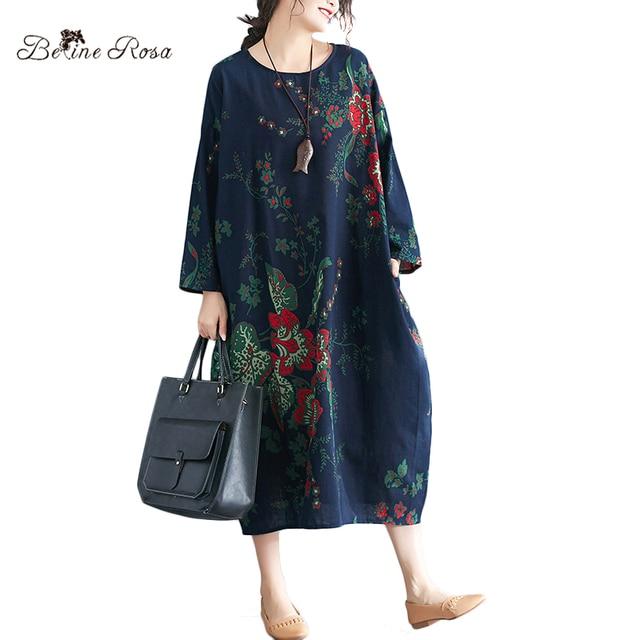 Women's Plus Size Dresses Spring Style Vintage Floral Printing Cotton Linen Big Size Female Dress