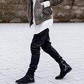 Justin bieber marca zíper lateral estilo homens slim fit casuais mens hip hop sweatpants calças justas motociclista calças basculador presa oliva