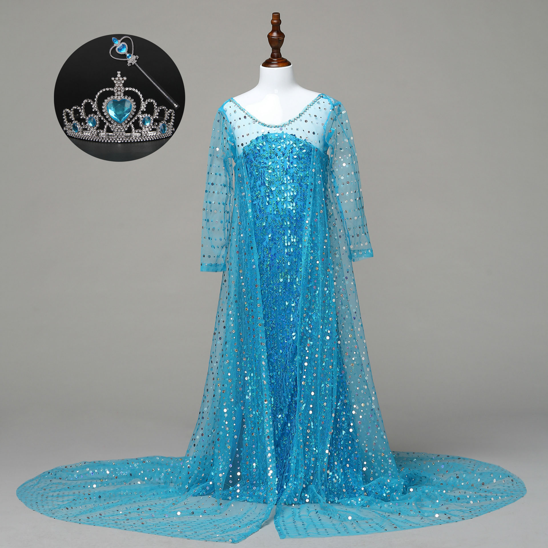 Gorgeous Carnival Kids Blue Princess Cosplay Party Wear Clothes Girls Elsa Costumes Sequin and Tulle Dress with Long Tail ems dhl free shipping new v neck baby girls kids sequin dress tulle dress with ruffles 5 colors princess dress casual wear
