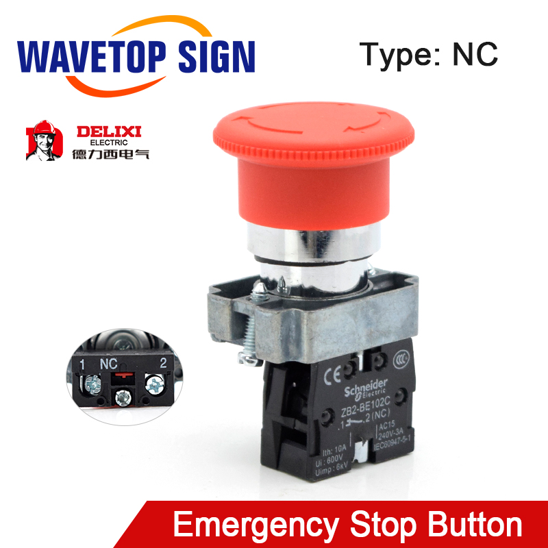 WaveTopSign Emergency Stop Button NC Rated Current 10A AC15 240V-3A For CO2 Laser Engraving Cutting Machine