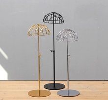 wholesale 3style Iron hat head mannequin, electroplating model adult counter rack Disc metal base Can adjust height 1PC C519
