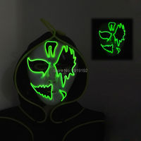 New type Carnival terror glowing EL wire Mask, Sound Activated Drive Night ghost Mask LED Neon Glowing Party Halloween Supplies