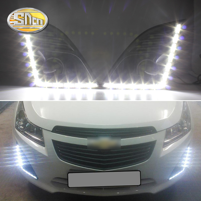 SNCN 2PCS LED Daytime Running Light For Chevrolet Cruze 2014 2015 Car Accessories Waterproof ABS 12V DRL Fog Lamp Decoration for chevrolet cruze captiva sport camaro sonic spark equinox 2013 2014 2015 h8 car led fog lamp 100w daytime running light bulb