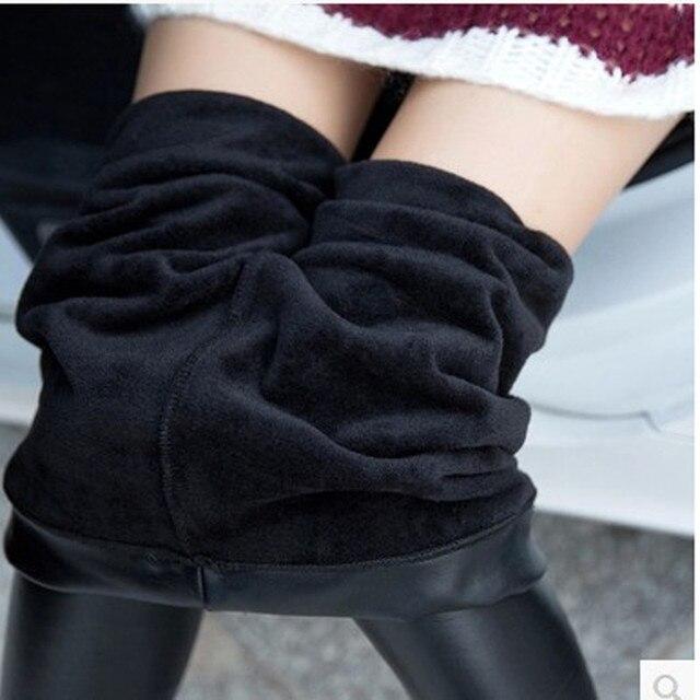 Tick Leather Pants Female Outer Wear Leggings Black  2016 Autumn&Winter Spandex Push UP Workout Jeans Woman Plus Size XXXL