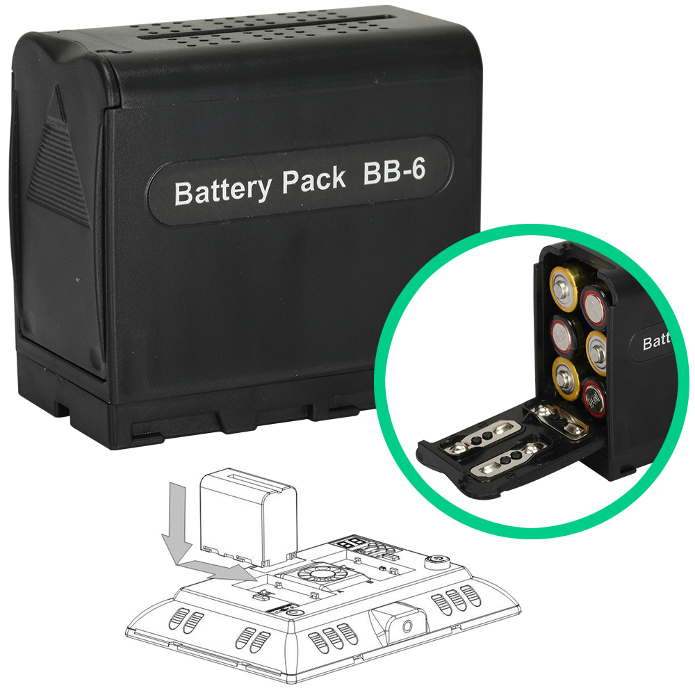 AA Battery Case Power Pack Adapter NP-F Series NP-F750 NP-F550 Replacement for Falconeyes Yongnuo LED Light Panels YN300II