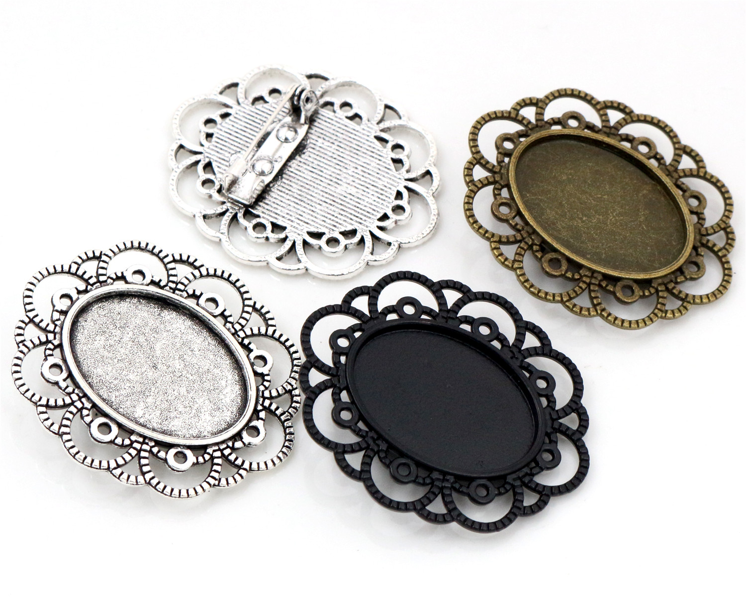 3pcs 18x25mm Inner Size Antique Silver And Bronze And Black Brooch Pin Cameo Cabochon Base Setting