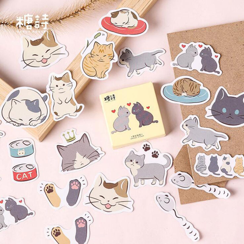 Kawaii Kitten Boxed Stickers Cute Cartoon Korean Stationery Post-it Office Supplies Supplies Diy Scrapbook Album Thin Label 45pc
