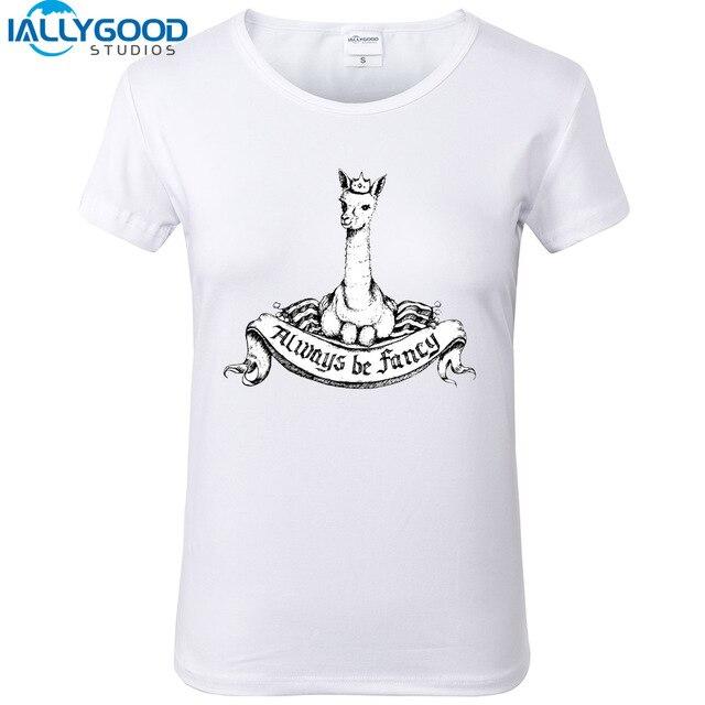 955f1ed393 Mais novo Verão Camisetas Mulheres Bonito Lhama Alpaca Moda Engraçado  Fantasia das Mulheres Impresso Manga Curta