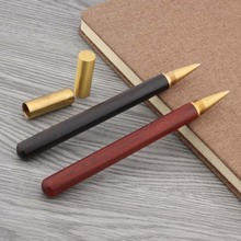 Jinhao Red  Wooden With Half Rubber Golden Trim Ballpoint Pen
