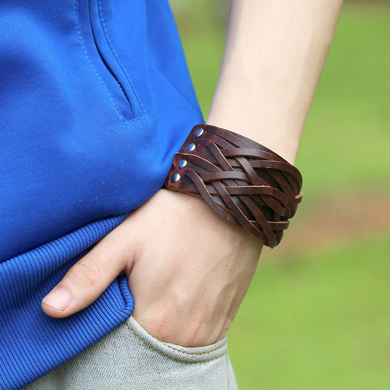 70f3a7a62591a5 NIUYITID Vintage Punk Wide Genuine Leather Bracelets For Men Women Brown  Personalized Hand Jewelry For Male-in Wrap Bracelets from Jewelry &  Accessories on ...
