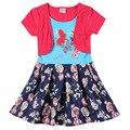Orange vermelho do bebê meninas vestidos de verão, 2-6 t moda infantil roupas, vestidos para meninas, vestidos infantis de aniversário do partido do miúdo