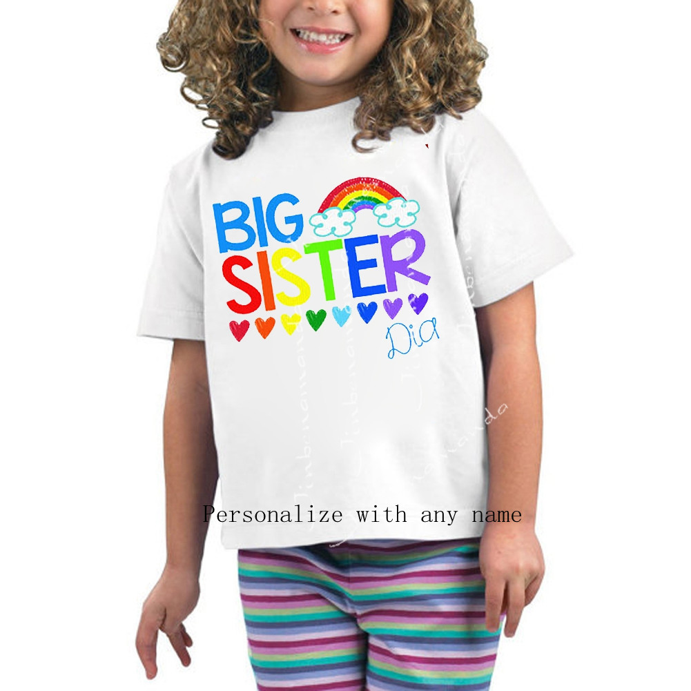 Funny Big Sister T Shirt Rainbow Hearts Personalized ...