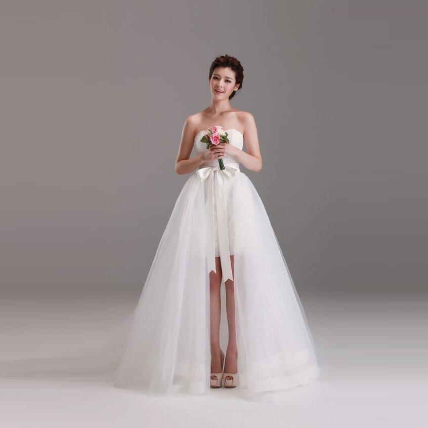 New Arrival Detachable Tutu Train Ribbons Belt Waistline A Line Floor Length Long Maxi Tulle Skirt White Wedding Skirts Women