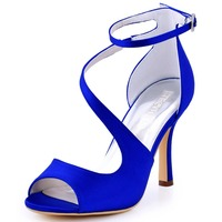 HP1565 Teal Navy Blue Women Bride Bridesmaids Prom Pumps Peep Toe High Stiletto Heel Buckle Satin