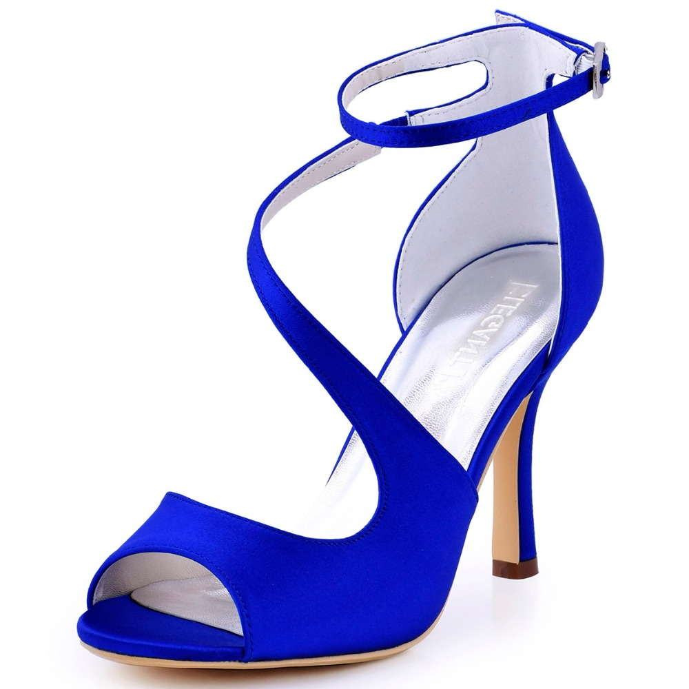 HP1565 Teal Navy Blue Women Shoes Bride Bridesmaid Prom Pumps Peep Toe High Heel Buckle Satin Wedding Bridal Party Shoes