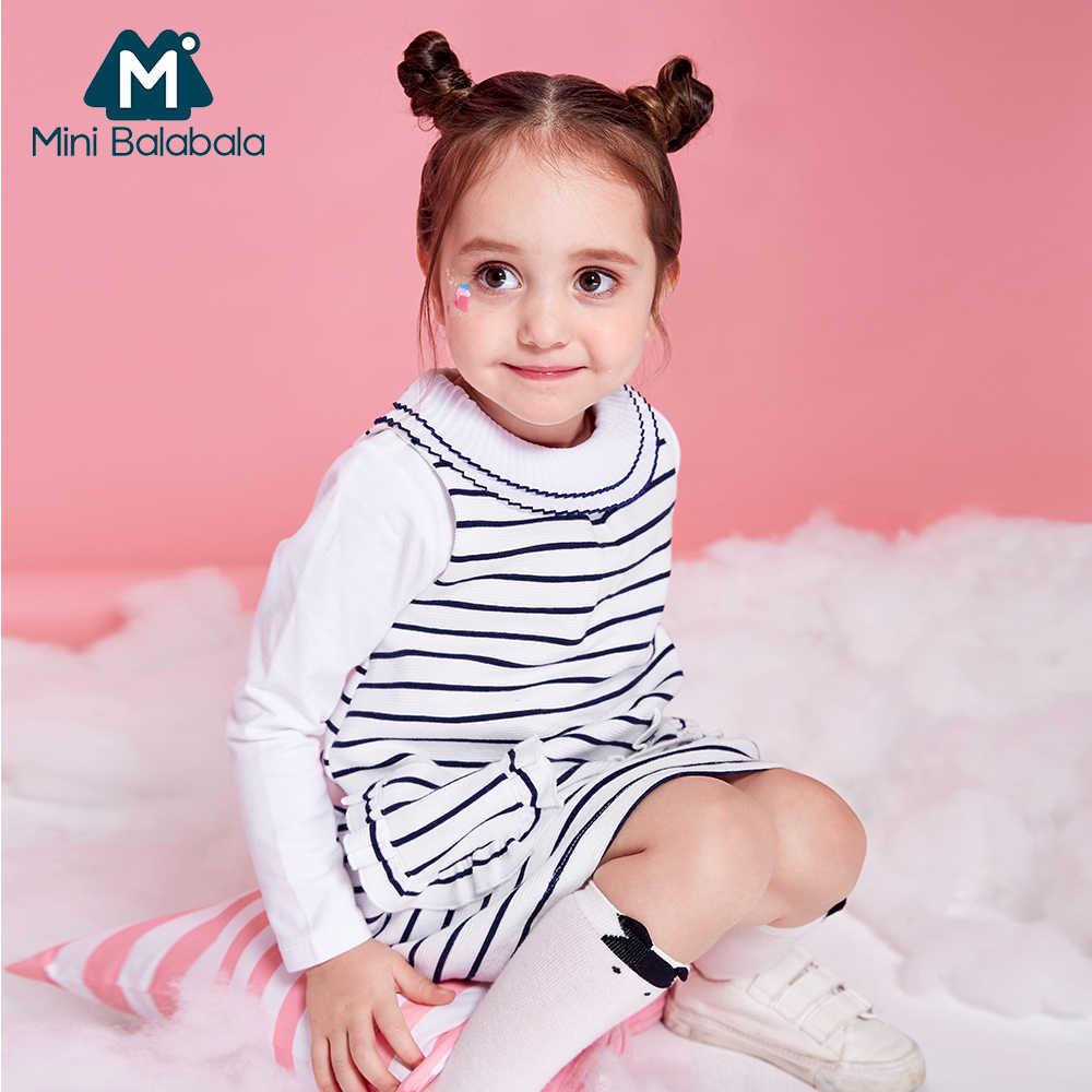 MiniBalabala enfants fille sans manches robe à rayures enfant en bas âge fille mode coton a-ligne robes avec poche enfants vêtements vêtements