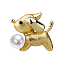 New Arrival Fashion Cute Dog Brooch for Women Men Lovely Freshwater Pearl Brooches Pins Sweater Suit Scarf Jewelry Corsage