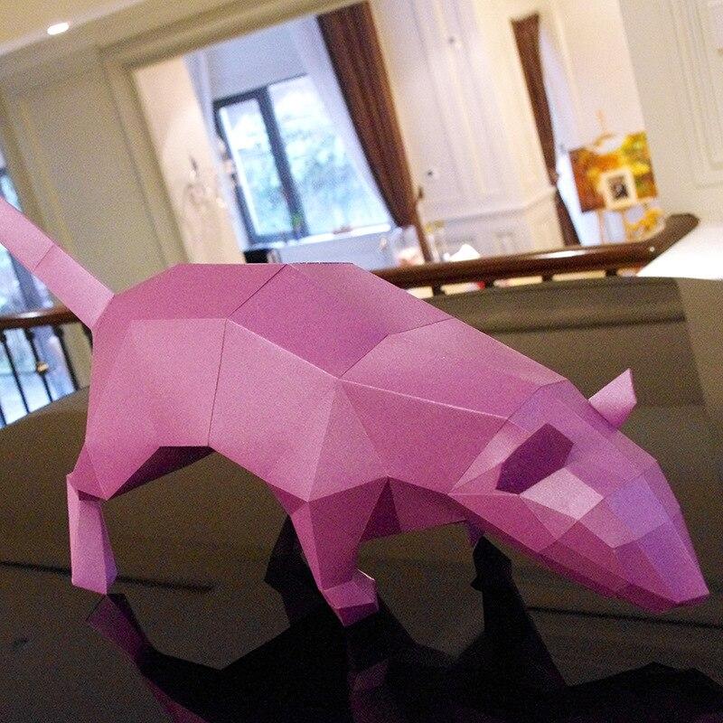DIY 3D головоломки Бумага качество Модель Руководство трехмерная Бумага Модель Дети выгодно Мудрость Игрушки-Крыса (17 страниц)