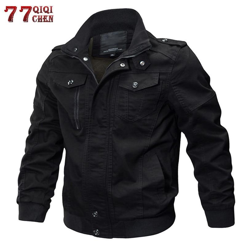 Brand Mens Winter Cotton Bomber Jacket Coat Plus Size 5XL 6XL Stand Collar Male Casual Air Force Flight Jacket Windbreaker Men
