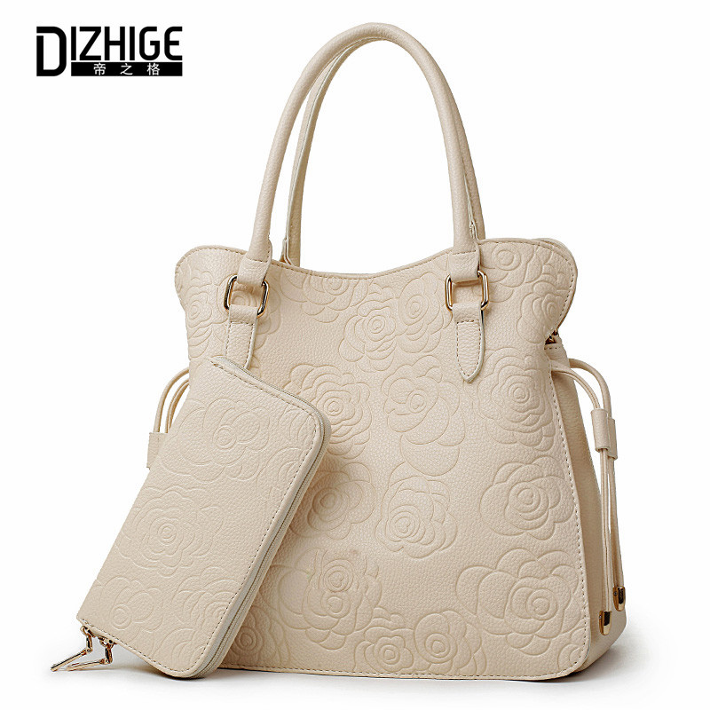 DIZHIGE Brand 2017 Women Bag Print Rose Floral Handbags Women PU Leather Tote Ba