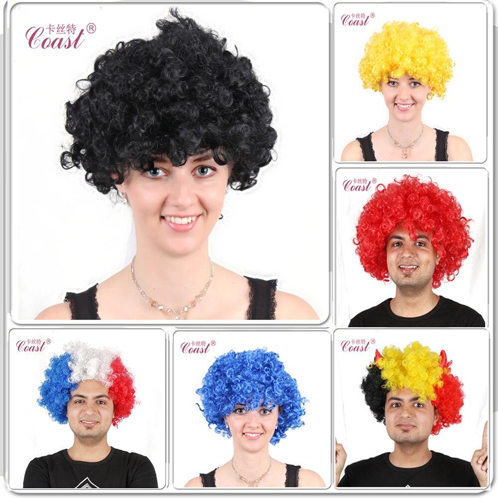 European Cup Afro Kvinder Parykker Mænd Cosplay Kostume Party Syntetisk hår Sort Parykker-2523