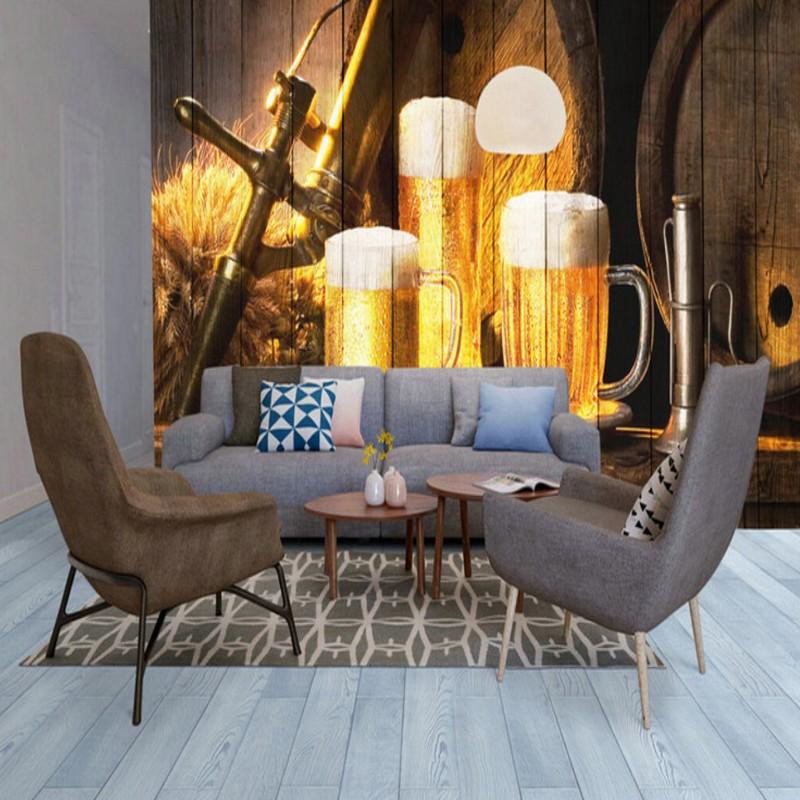 Custom Photo Wallpaper 3D Stereo Beer Wooden Fresco Bar Background Restaurant Cafe Lounge High Quality