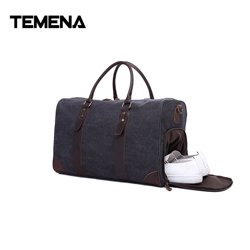 Temena Duffel Bag men Canvas Carry On Weekend Bags Vintage Military Shoulder Handbag Leather Travel Tote Overnight Bag ATB619 unisex retro new 2015 canvas leather women messenger bags men crossbody bag shoulder bag duffel bags weekend free shipping