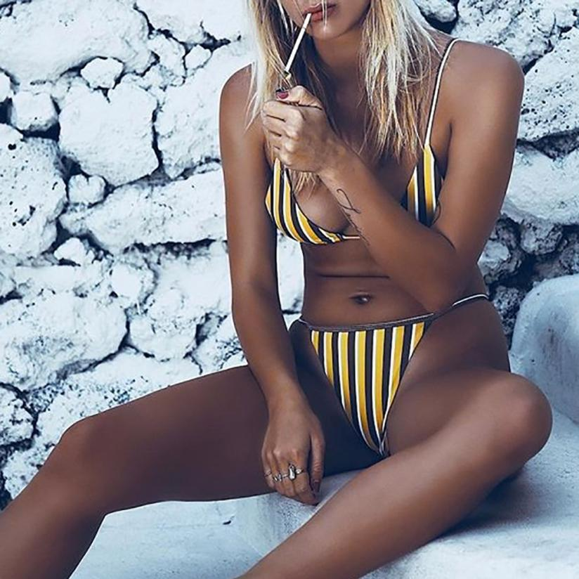 Womail Swimwear Women 2018 Sexy thong bikini Set Yellow stripes Swimsuit Push Up Padded Bra swiming suit maio praia #NK161