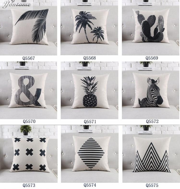 scandinave mode coussins ananas decoratif oreillers couverture chaise coussin noir et blanc decoratif oreillers pour canape