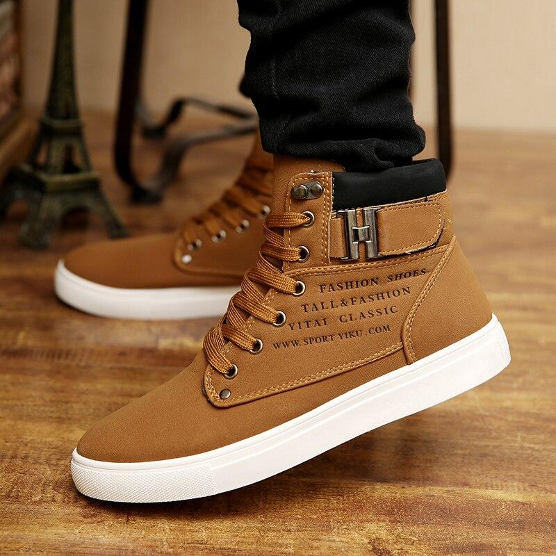 2018 caliente de los hombres botas de moda caliente de los hombres de invierno otoño zapatos de calzado de cuero para hombre de alta Top zapatos casuales de lona los hombres