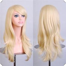 Long Bangs Blonde Wavy Cosplay Wig Synthetic Hatsune Miku Golden Coslay Hair/Wigs Long Bangs Blonde Wavy Cosplay Wig