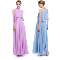 Pro Good Quality Blue Purple Chiffon A Dress Women XXXL Summer Dresses Ankle Length Long Dress