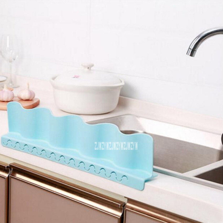 New ASK576 Home Kitchen Sink Splash Water Board Washing Waterproof Protector Tools With Suction Cups Sink Water Baffle (12*49cm)
