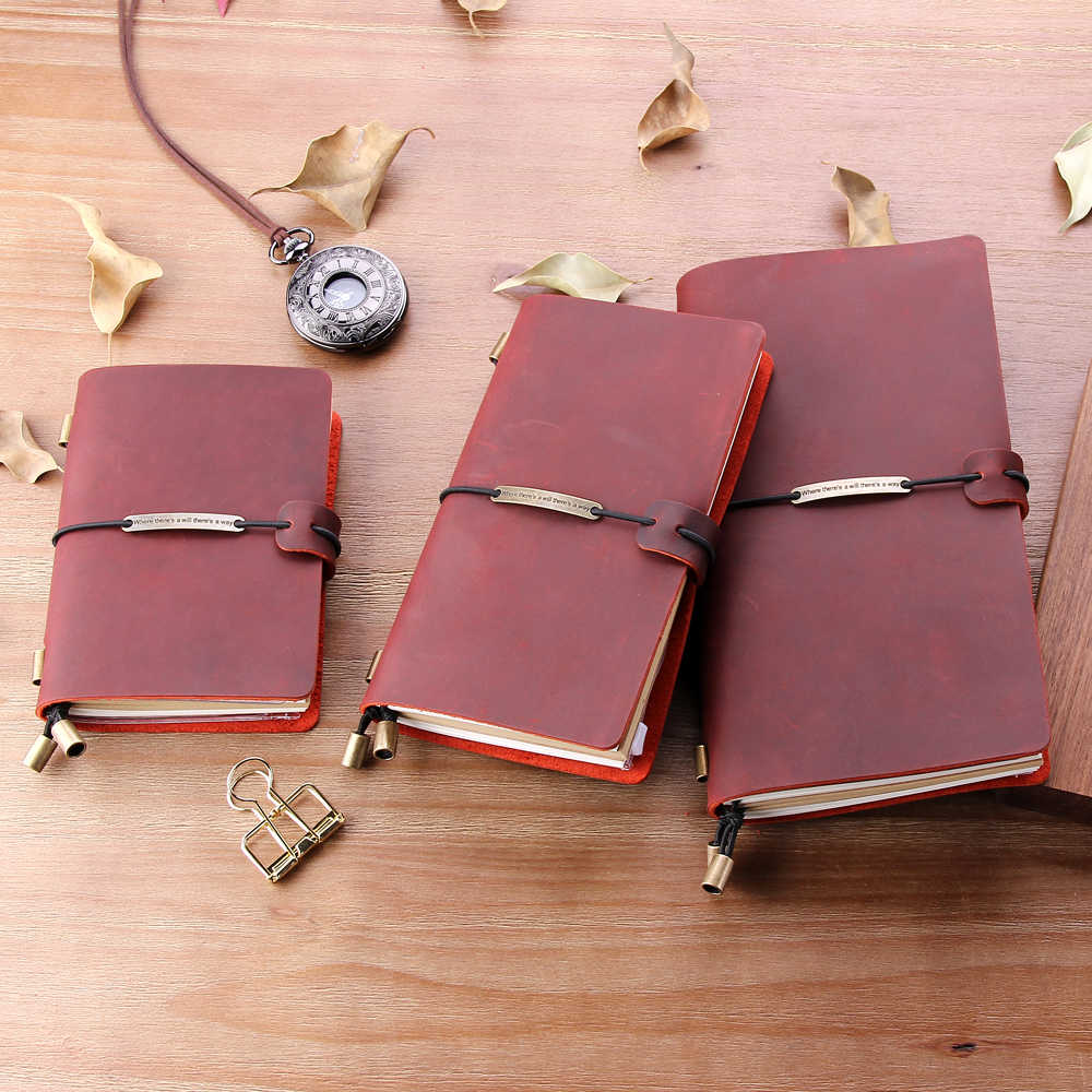 Handmade Leather Writing Journal Notebook Refillable, Pocket Vintage Leather Travel Journal Diary, Notebook for Men & Women Gift