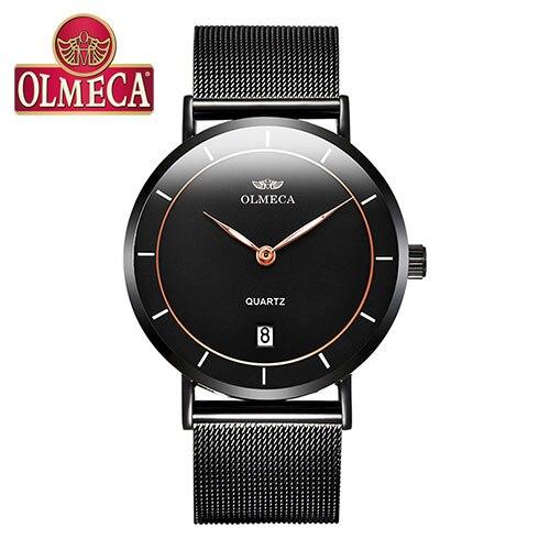 OLMECA Unisex Lover's Wrist Watch Waterproof Easy Read Simple Army Watch Hook-buckle Mesh Steel Bracelet For Men And Women