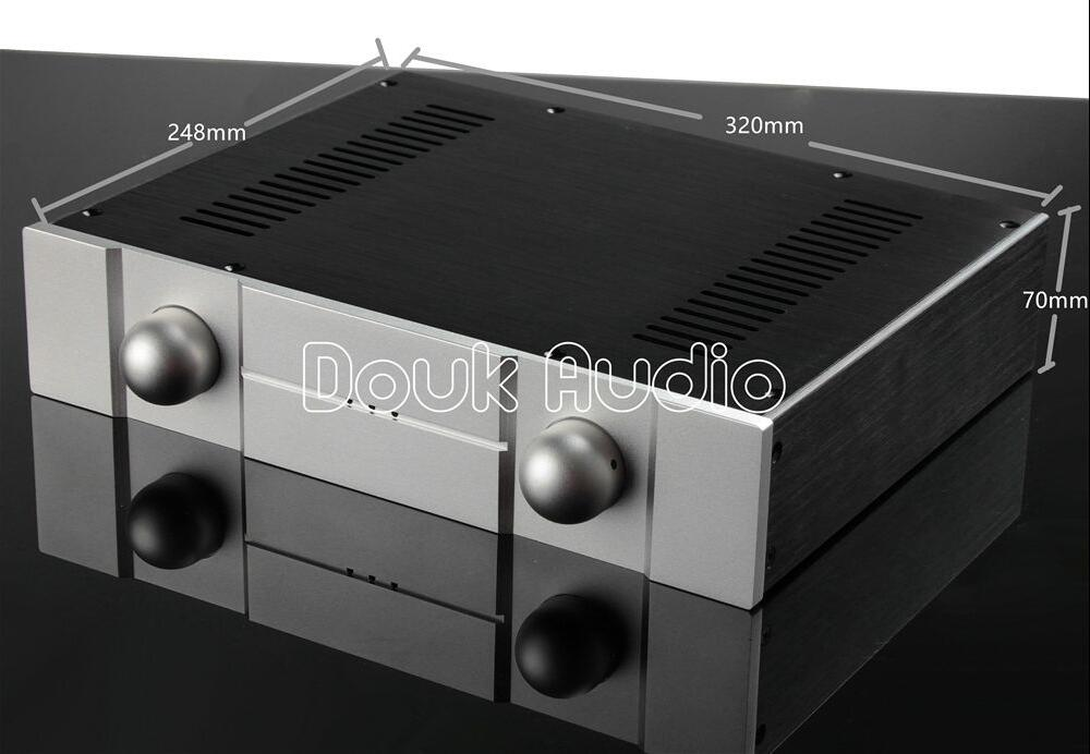 Douk Audio New Aluminum Chassis Amplifier Enclosure DIY Case DAC House Box (W320*H70*D248mm) wa19 aluminum chassis pre amplifier chassis enclosure box 313 425 90mm